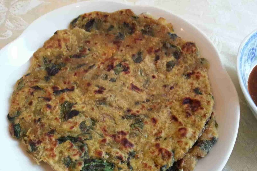 Palak Parantha – Pan fried Spinach and Whole Wheat Bread