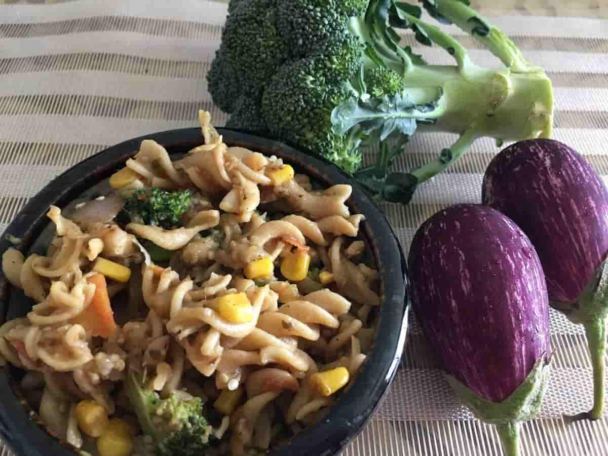 Whole wheat Pasta Recipe with Pan Roasted Veggies and Herbs