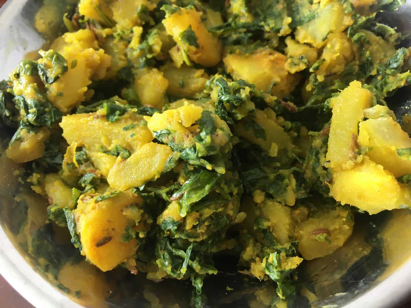 Aloo Methi   Potato and Fenugreek Leaves cooked in Indian style stir-fry