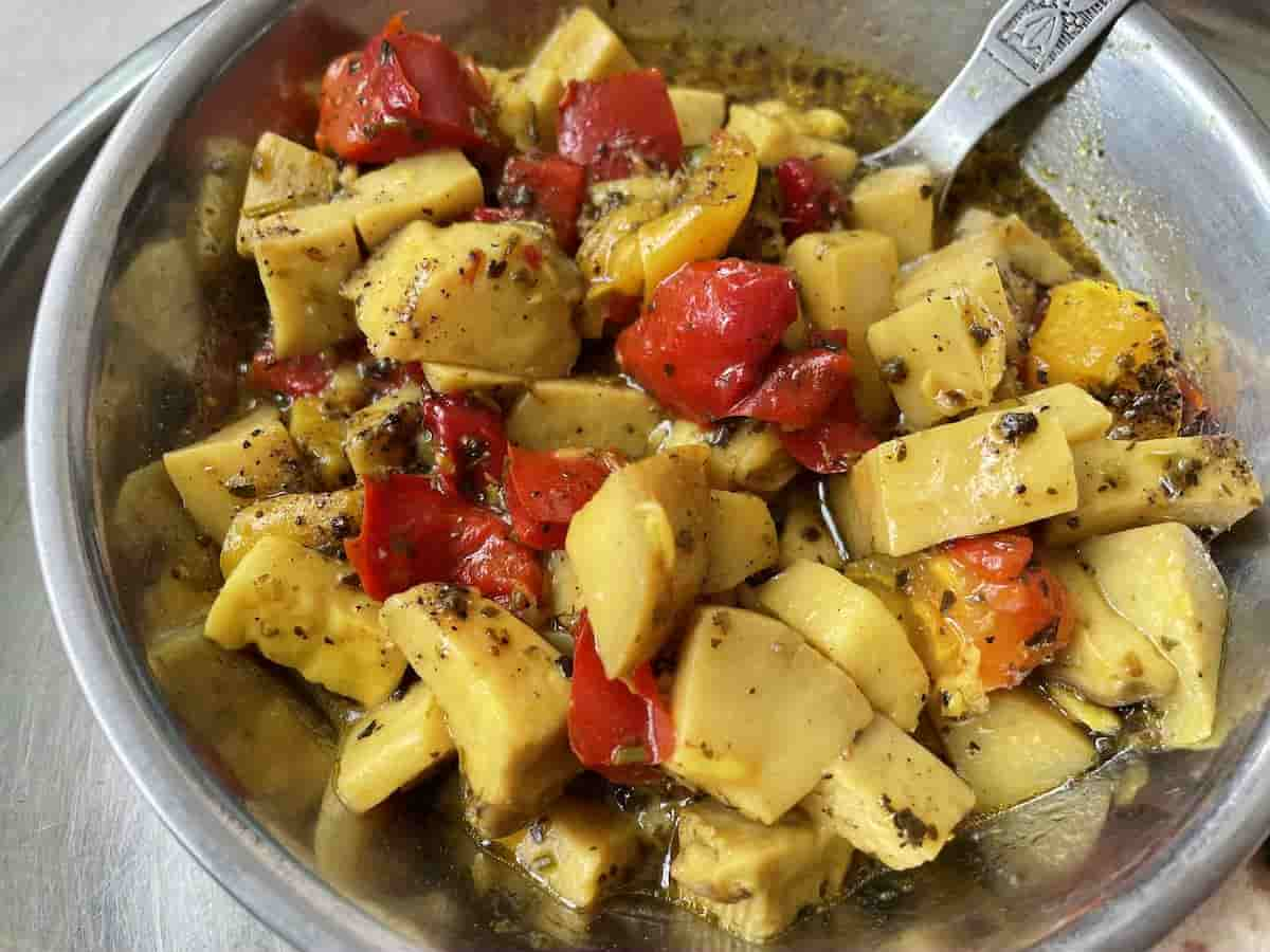 King Oyster Mushroom with Red Bell Pepper and Herbs de Provence
