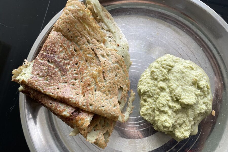 Moong Beans Dosa (Pancake) | Pesarattu with Coconut and Curry Leaves Chutney